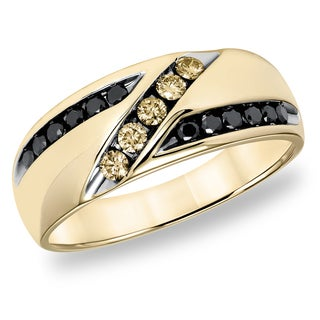 Cambridge 10k Yellow Gold 1/2ct TDW Champagne Black Diamond Men's Ring (I1-I2)