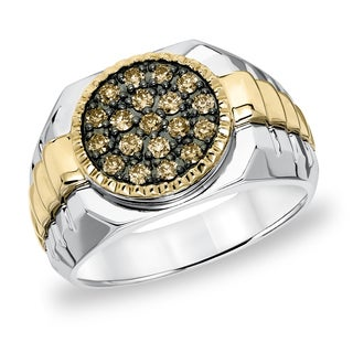 Cambridge Men's 10k Yellow Gold Sterling Silver 1/2ct TDW Champagne Diamond Ring (I1-I2)