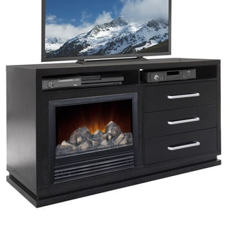 CorLiving TFP-706-Z Holland TV Bench with Fireplace in Black Wood Grain