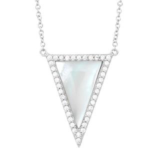 La Preciosa Sterling Silver Mother of Pearl and Cubic Zirconia Triangle Necklace