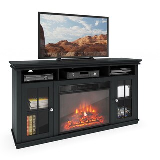 CorLiving TFP-608-Z Carter TV Bench with Fireplace in Black Wood Grain