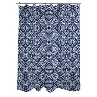 Thumbprintz Winter Garden Baroque White on Navy Shower Curtain