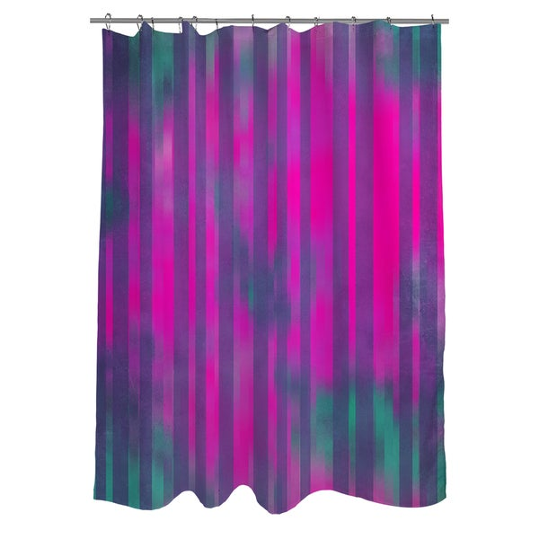 Thumbprintz Stripes Pink Turquoise Shower Curtain