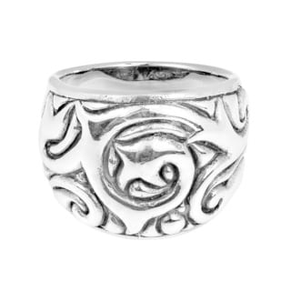 Exotic Swirl Dome Design .925 Sterling Silver Ring (Thailand)