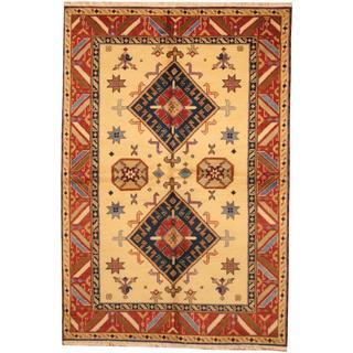 Herat Oriental Indo Hand-knotted Kazak Ivory/ Red Wool Rug (5'6 x 8'2)