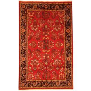 Herat Oriental Indo Hand-knotted Sarouk Red/ Black Wool Rug (5' x 8')