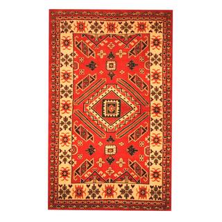 Herat Oriental Indo Hand-knotted Kazak Red/ Ivory Wool Rug (4'2 x 6'8)