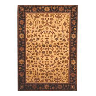Herat Oriental Indo Hand-knotted Mahal Beige/ Black Wool Rug (4' x 6')