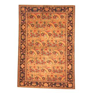 Herat Oriental Indo Hand-knotted Mahal Teal/ Black Wool Rug (4' x 6')
