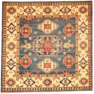 Herat Oriental Afghan Hand-knotted Kazak Blue/ Beige Wool Rug (5'11 x 5'11)