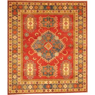 Herat Oriental Afghan Hand-knotted Kazak Red/ Beige Wool Rug (5'3 x 6')