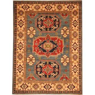 Herat Oriental Afghan Hand-knotted Kazak Blue/ Ivory Wool Rug (4'11 x 6'8)