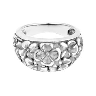 Frangipani Flower Floral Bouquet Sterling Silver Ring (Thailand)