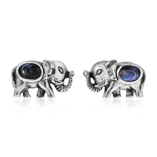 Thai Elephant Stone Inlay .925 Sterling Silver Earrings (Thailand)