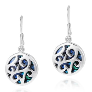 Filigree Lace Stone Inlay .925 Silver Dangle Earrings (Thailand)