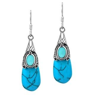 Vintage Turquoise Teardrop .925 Silver Dangle Earrings (Thailand)