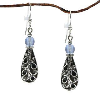 Jewelry by Dawn Antiqued Puffed Teardrop Light Blue Dangle Earrings