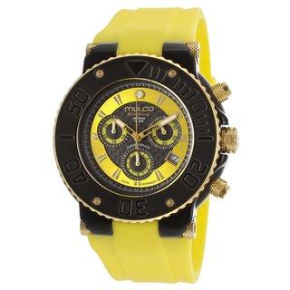 Mulco Men's 'Bluemarine' Black stainless steel Yellow Silicone Watch