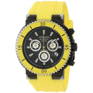 Mulco Men's 'Bluemarine' ion-plated stainless steel Yellow Silicone Strap Watch