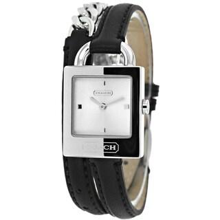 Coach Women's 14501929 Classic Black Leather Chain Wrap Watch