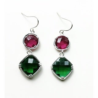 Pretty Little Style Silvertone Purple and Green Dangle Earrings