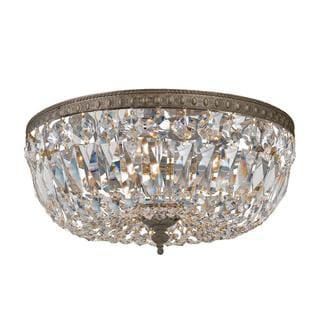 Traditional 3-light Crystal Flushmount in English Bronze