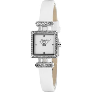Kenneth Cole Women's KC2825 Classic Square Dial White Leather Watch