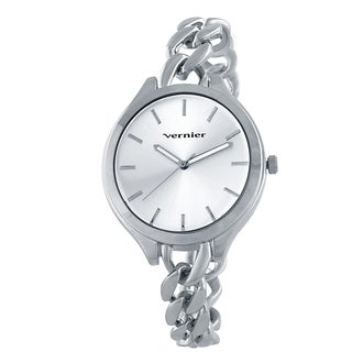 Vernier V11181SS Women's Silvertone Box Chain Link Watch