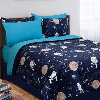Veratex Glow in the Dark Galaxy Invaders 4-piece Comforter Set