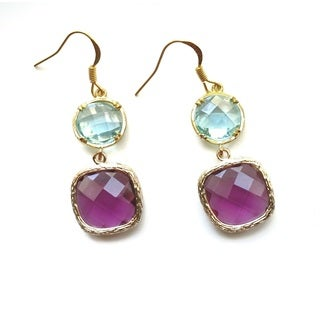 Copy of Pretty Little Style Goldtone Purple and Turquoise Dangle Earrings