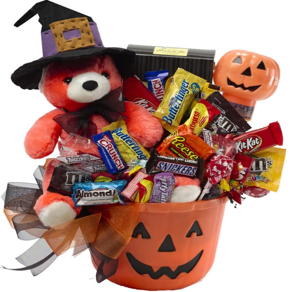 Happy Halloween Jack-O-Lantern Teddy Bear Gift Basket