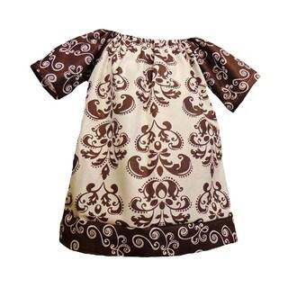 GIrls Cocoa/ Cream Damask Print Peasant Dress