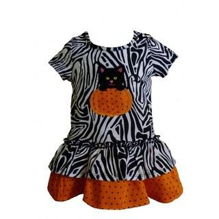 Girls Halloween-themed Zebra Print Pumpkin Kitty Applique Dress