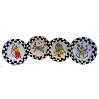 Set of 4 Monkey Business Decorative Plate Bundle (Italy)