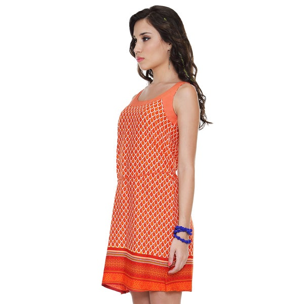 Global Desi Women's Boho Printed Dress and Waist Tie (India)