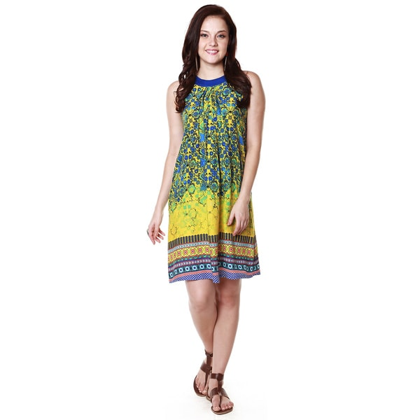 Global Desi Women's Boho Multi-stripe Printed Dress (India)
