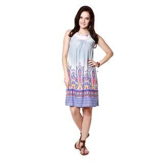Global Desi Woman's Boho Abstract Print Sleeveless Dress (India)