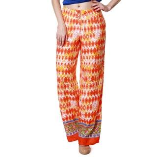 Global Desi Women's Boho Diamond Print Pants (India)