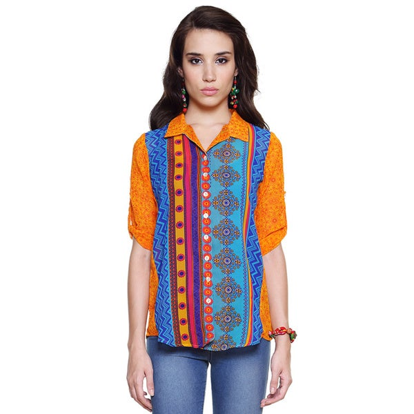 Global Desi Women's Boho Multi-stripe Button Down Top (India)
