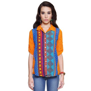 Global Desi Women's Boho Multi-stripe Button Down Top (India)