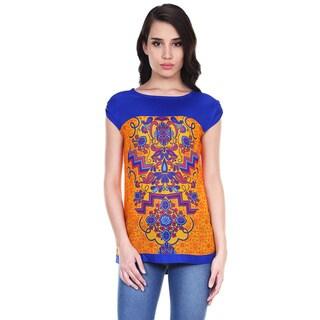 Global Desi Woman's Boho Cap-sleeve Printed Top (India)