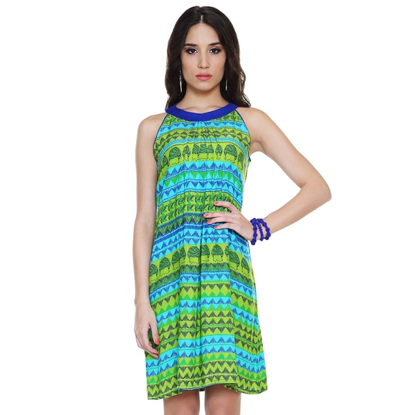 Global Desi Women's Boho Horizontal Multi-print Dress (India) Large Size in Green (As Is Item)