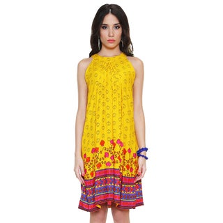 Global Desi Women's Boho Kite Print Sleeveless Dress (India)
