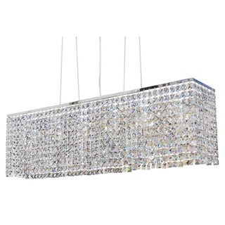 40-inch Modern Chrome Crystal Suspension Linear Chandelier