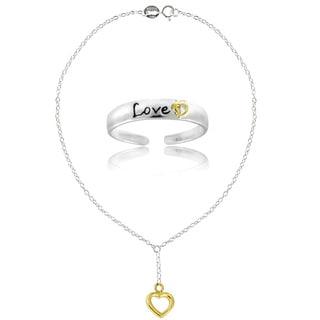 Mondevio Sterling Silver Two-tone Love Anklet and Toe Ring Set