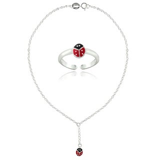 Mondevio Sterling Silver Enamel Ladybug Anklet and Toe Ring Set