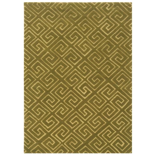 Bombay Outlet Fret Green Area Rug (2' x 3')