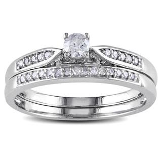 Miadora 10k White Gold 1/3ct TDW Diamond Bridal Ring Set (G-H, I2-I3)
