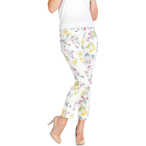 Bluberry Women's White Denim Floral Print Capri Pants
