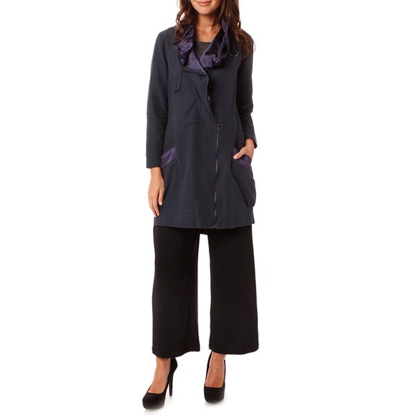 Mosse Women's Navy Satin-trim Raincoat Jacket